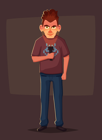 Crazy man highlights his face with flashlight. Person in the dark. Cartoon vector illustration.