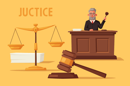 Judge character with hammer. Cartoon vector illustration. Juistice concept.Law judicial legal proceedings in courthouse Illustration