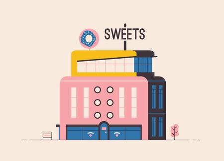 Sweets shop building. Flat vector illustration. Outdoor facade