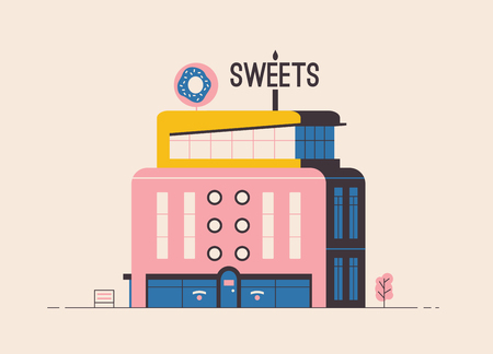 Sweets shop building. Flat vector illustration. Outdoor facade