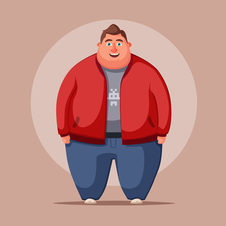 Happy fat man. Obese character. Fatboy. Cartoon vector illustration. Concept of weight. Funny cartoon character