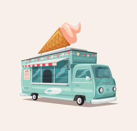 Retro Street Food Van . Vintage Eiswagen . Cartoon-Vektor-Illustration . Für Web und Print Vektorgrafik