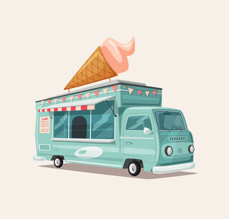 Retro street food van. Vintage ice cream truck. Cartoon vector illustration. For web and print
