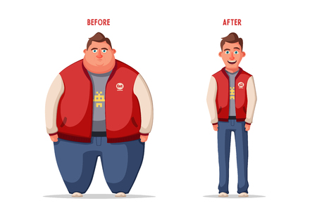 Sad fat man. Obese character. Fat boy Cartoon vector illustration. 일러스트