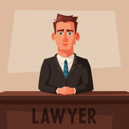 Serious lawyer sits by the table in courthouse. Cartoon vector illustration. Character design. Justice concept. Law judicial legal proceedings.
