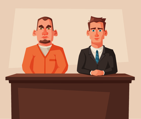 Serious lawyer sits by the table in courthouse with defendant. Cartoon vector illustration. Character design.
