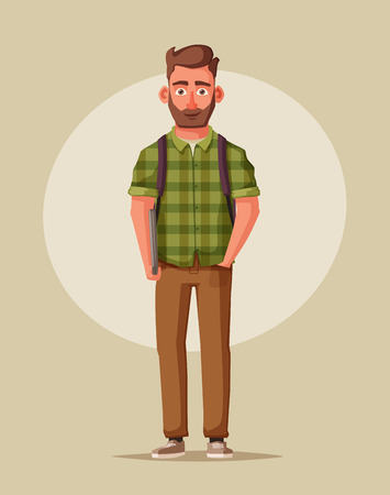 Happy young man with a laptop. Student, trainee or employee. Cartoon vector illustration. Handsome character