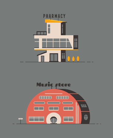 Pharmacy and music store building flat design.