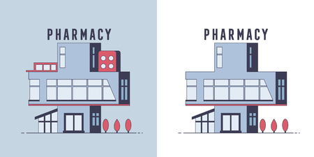 Pharmacy drugstore flat design. Vector illustration. Outdoor facade. Building design. For web and print. Orthogonal icon
