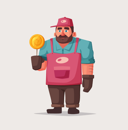 Street food and beverages funny hawker. Cartoon vector illustration of Seller or chef character. Illustration