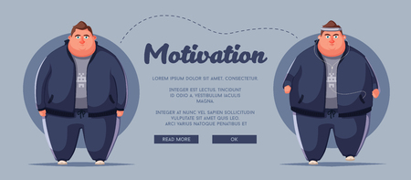 Motivational poster concept with fat man vector illustration