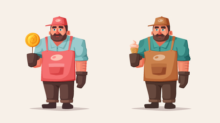 Street food and beverages funny hawker. Cartoon vector illustration. Seller or chef character