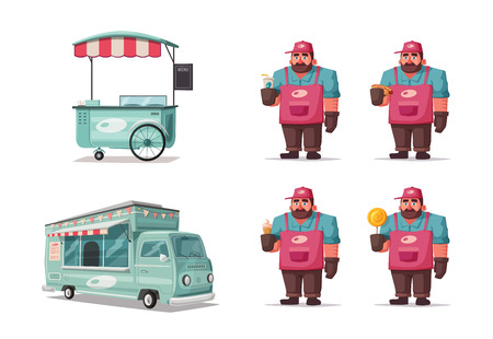 Street food and beverages funny hawker. Cartoon vector illustration. Illustration