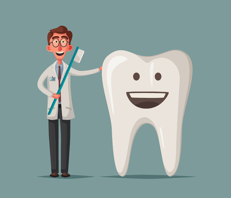 Cute happy smiling tooth. Vector cartoon illustration. Funny characters. Good doctor heals. Clear teeth concept. Dental care. Dentist concept