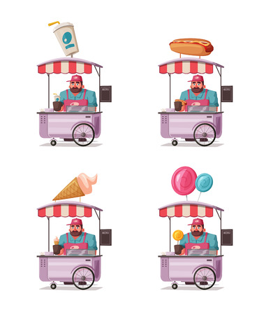 Street food or fast food hawker vendor truck. Cartoon vector illustration