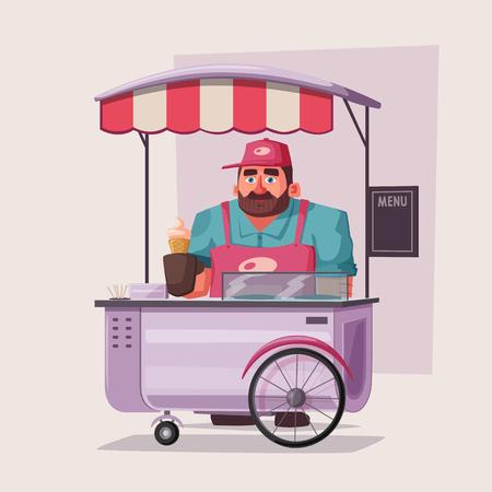 Street food or fast food hawker vendor truck. Cartoon vector illustration