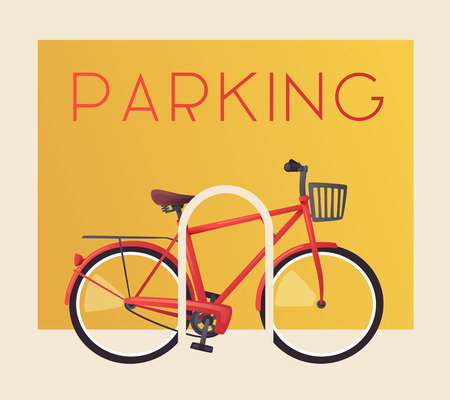 Bike parking. Bicycle sign for web or print. Cartoon vector illustration