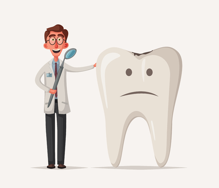 Cute sad unhealthy tooth. Vector cartoon illustration. Funny characters 向量圖像