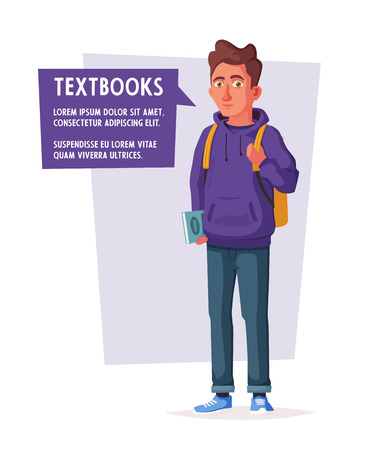 Happy student with a backpack and a book. Cheerful young man. Cartoon vector illustration