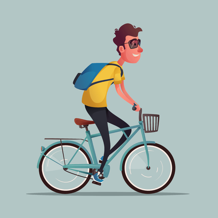 Funny man ride a bike. Vintage bicycle. Cartoon vector illustration