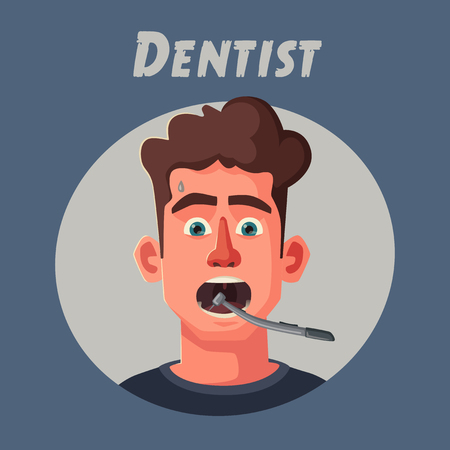 Dentist looking into open mouth of patient. Funny afraid person. Cartoon vector illustration. Character design. Funky patient
