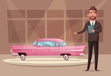 Vente d'une voiture neuve. Le vendeur à la salle d'exposition de voiture montre le véhicule. Illustration de dessin animé de vecteur Vecteurs