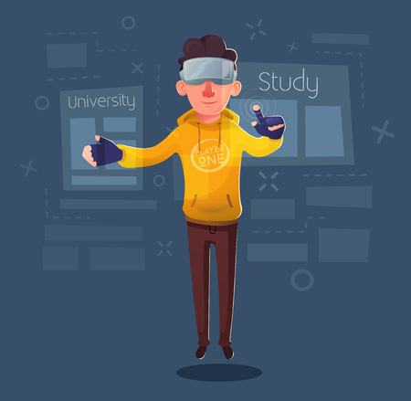 Character wear virtual reality digital glasses. Cartoon Vector Illustration