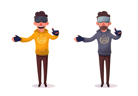 Character wear virtual reality digital glasses. Cartoon Vector Illustration. Learning, entertaining and games. Development skills and knowledge. Collection of data. Funny person. Gradient style Ilustrace