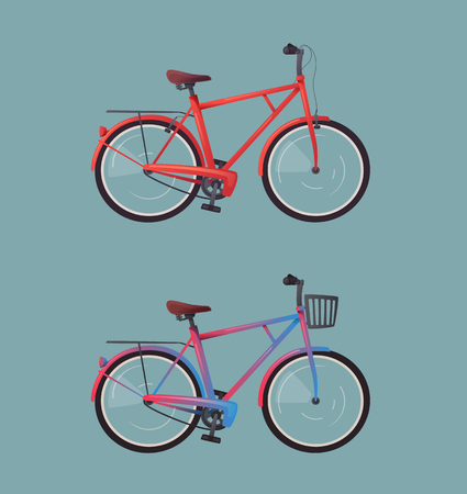 Retro bike. Bicycle design for web or print. Cartoon vector illustration. Poster or banner template. Service for tourists, city visitors or local people.