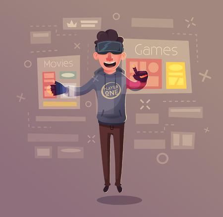 Character wear virtual reality digital glasses.