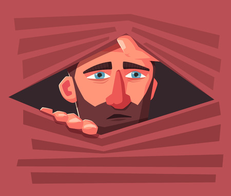 Confused man hide. Frightened person. Character design. Cartoon vector illustration. Man is hiding into a jalousie.
