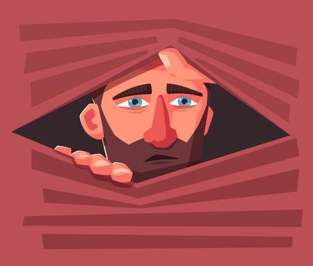 Homme confus se cacher. Personne effrayée. Conception de personnages. Illustration vectorielle de dessin animé. L'homme se cache dans une jalousie. Vecteurs