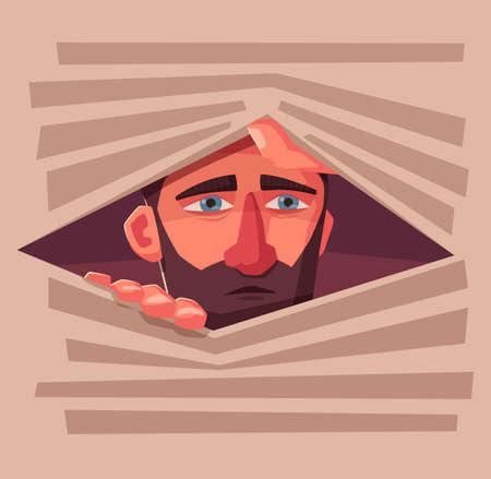 Verwirrter Mann versteckt sich. Verängstigte Person. Charakter-Design. Karikaturvektorillustration. Der Mensch versteckt sich in einem Jalousie. Vektorgrafik