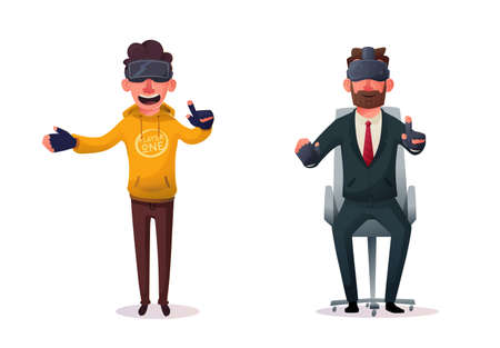 Characters wear virtual reality digital glasses. Cartoon Vector Illustration. Learning, entertaining and games. Development skills and knowledge. Collection of data. Funny persons. Gradient style