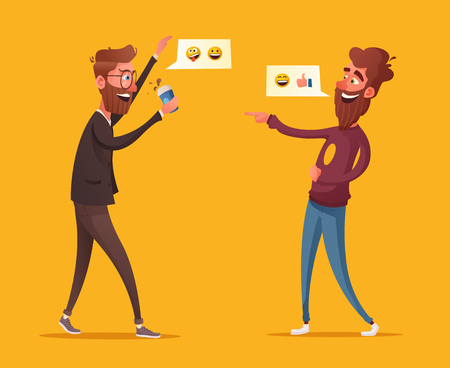 Two friends or colleagues having fun. Cartoon vector illustration. Loud laughter. Funny joke. Two bearded characters in office. Communicating male