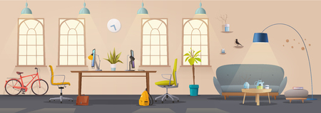 Living room and office interior. Modern apartment, scandinavian or loft design. Cartoon vector illustration. Creative office and Co-working center. Comfortable workplace. Creative work