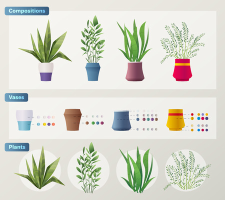 Set of plants and flowers. Cartoon vector illustration. Green home. Elements for interior. Scene creator