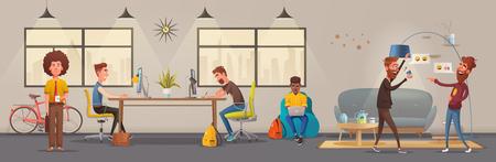 Interiore dell'ufficio. Appartamento moderno, design scandinavo o loft. Cartoon illustrazione vettoriale. Ufficio creativo e centro di co-working. Ambiente di lavoro confortevole. Lavoro creativo