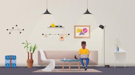 Interior de la sala de estar. Apartamento moderno, diseño escandinavo o loft. Ilustración vectorial de dibujos animados. Oficina y hogar creativos. Cómodo espacio para vivir o trabajar.