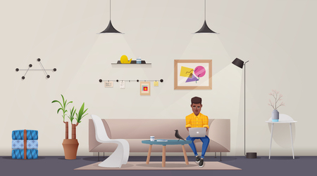 Living room interior. Modern apartment, scandinavian or loft design. Cartoon vector illustration. Creative office and home. Comfortable living or working space.