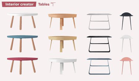 Set of tables. Cartoon vector illustration. Coffee and side tables. Design of interior. Illustration