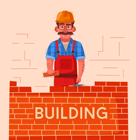 Builder in a hard hat is building a brick wall. Cartoon vector illustration. Character design Vectores