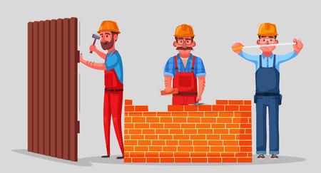 Team of builders is working. Cartoon vector illustration. Character design. Builders, carpenter and engineer work together