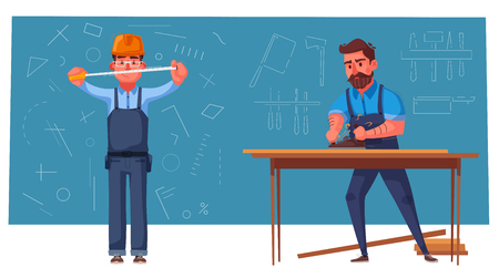 Funny engineer is measures. Carpenter is working. Cartoon vector illustration. Character design