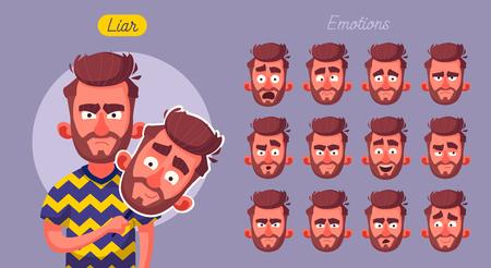 Fake face. Bad man wear good mask. Cartoon vector illustration. Set of emotions.