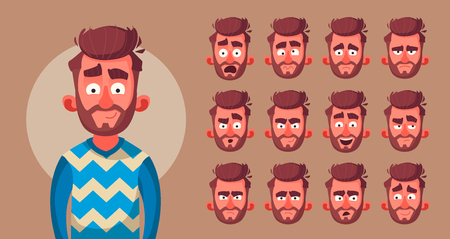 Set of characters emotions. Cartoon vector illustration. Male facial emotions. Emoji with different expressions.