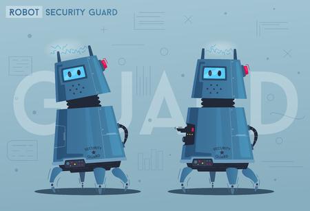 Caractère de robot. Technologie, avenir. Illustration vectorielle de dessin animé. Android un gardien de sécurité. Chien avec une arme à feu. Concept sûr