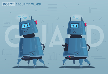 Robot character. Technology, future. Cartoon vector illustration. Android a security guard. Dog with a gun. Safe concept