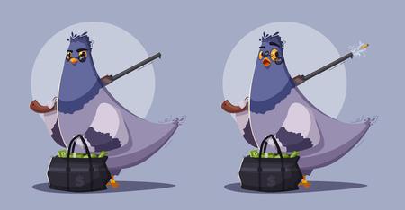 Pigeon a robber. Thug life. Cartoon vector illustration. Theft money. Criminal character. Thief bird Illustration