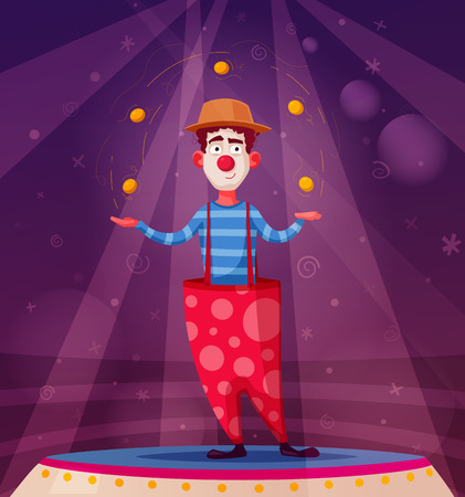 Circus show. Funny clown character juggles. Cartoon vector illustration. Juggler on the scene. For web and print Stock Illustratie